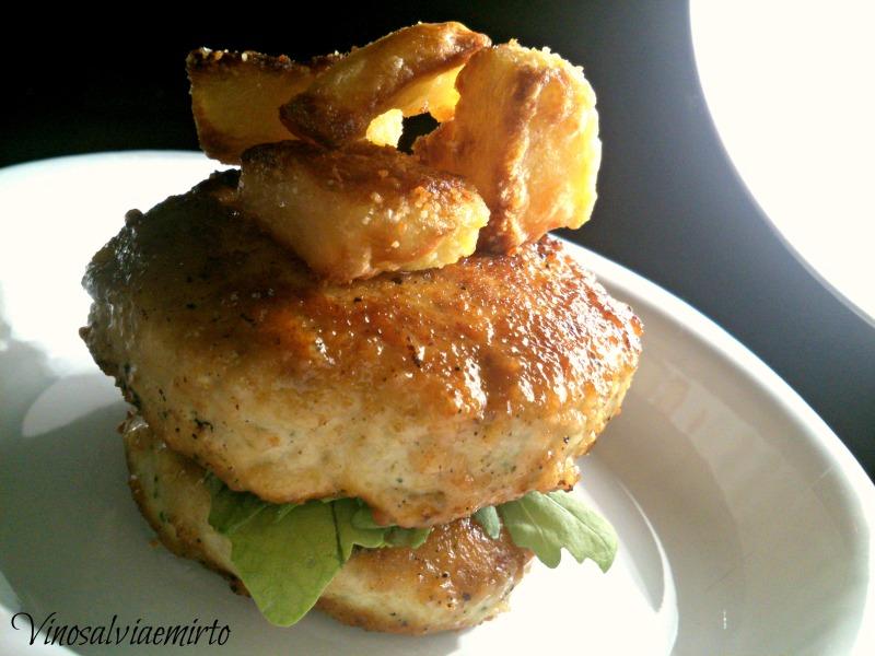 Hamburger pollo parmigiano e rughetta