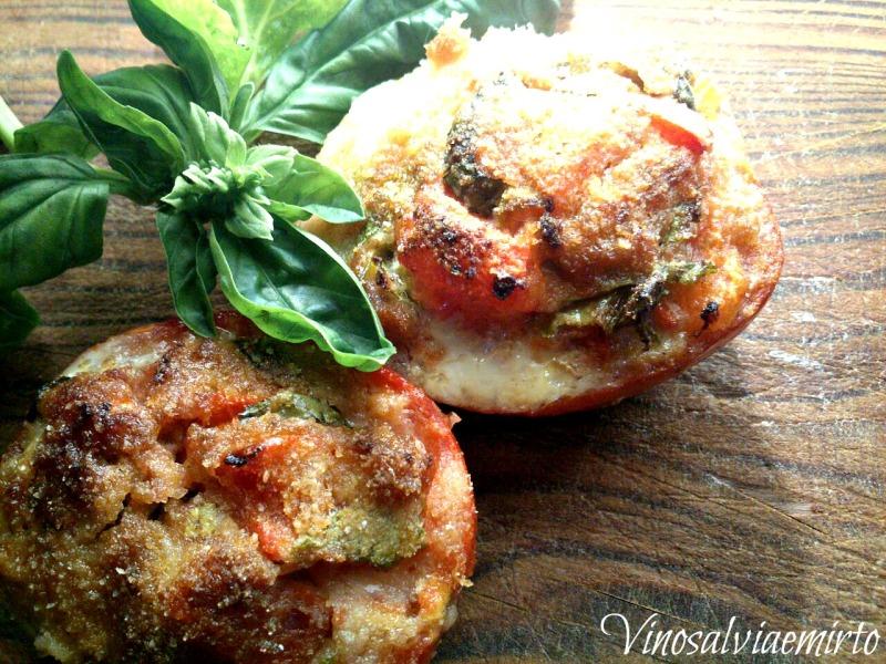 pomodori ripieni si salsiccia menta e basilico